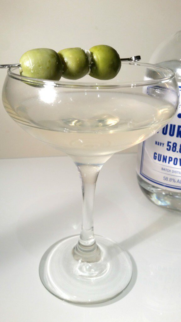 Four Pillars Navy Strength dirty martini with blue-cheese stuffed olives